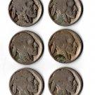 U.S. 6 'Buffalo' Nickel, Acid Dates (1915, 1919, 1920, 1923, 1924, 1925) Lot #1