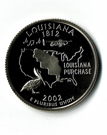 U.S. 2002-S Proof Louisiana State Washington Quarter.