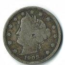 U.S. 1908 Liberty V Nickel, Partial LIBERTY