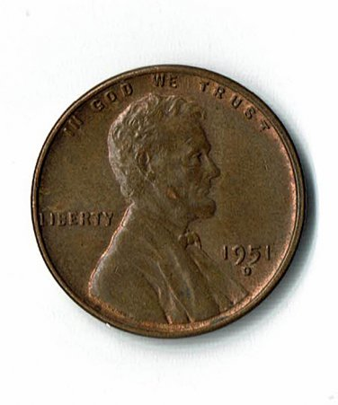 U.S. 1951-D Uncirculated/Red Brown Lincoln Cent