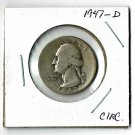 U.S. 1947-D Washington Quarter 90% Silver, Circulated