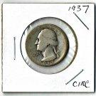 U.S. 1937 Washington Quarter 90% Silver, Circulated