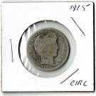 U.S. 1915 Barber Quarter, Circulated, 90% Silver
