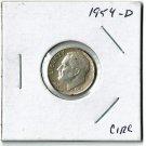 U.S. 1954-D Roosevelt Dime, Circulated, 90% Silver
