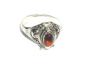 Sterling Silver Poison Ring with Oval Shape Rose Amber