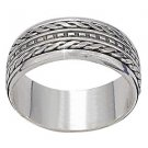 Sterling Silver Bali Twin Edge Dash Center Mens Spinner Ring