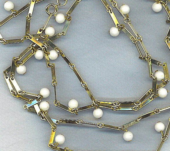 "52"" VTG. CHAIN WITH SMALL WHITE BEADS"