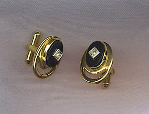 CUFF LINKS IN ONYX & WITH RHINESTONE CENTER
