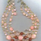 W. GERMANY MARKED 3 STRAND VINTAGE BEAD NECKLACE