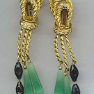VTG. EARRINGS IN FAUX JADE, JET, & GOLD