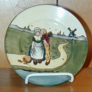 AUSTRIA HAND PAINTED PLATE WITH WINDMILL & FIGURES