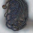AMAZING VTG. BLUE & BLACK 5 STRAND SHELL BEAD NECKLACE
