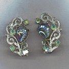 FABULOUS VTG. AURORA BOREALIS ART GLASS & RHINESTONE EARRINGS