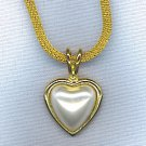 VTG. PEARL HEART MESH CHAIN PENDANT NECKLACE