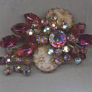 MAGNIFICENT VTG. RHINESTONE BROOCH, CARVED GLASS