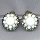 VTG. MILK GLASS & RHINESTONE EARRINGS