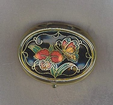 Gorgeous Vtg. Pill Box with Cloisonnes Top