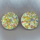FABULOUS FLOWERS & AURORA BOREALIS VTG. EARRINGS