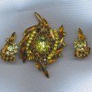 GORGEOUS VTG. RHINESTONE BROOCH & EARRINGS SET