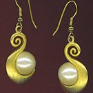 EXQUISITE  PEARL & SATIN GOLD DROP EARRINGS