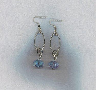 Artisan Aqua & Silver Ovals Earrings