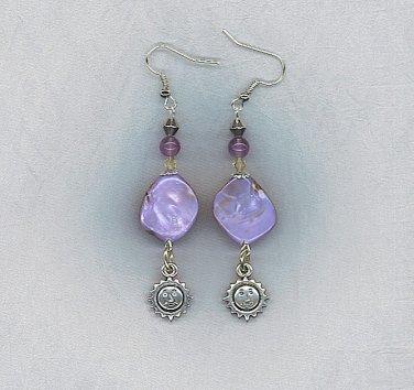 Gorgeous Lavender Dyed Shell Artisan Earrings