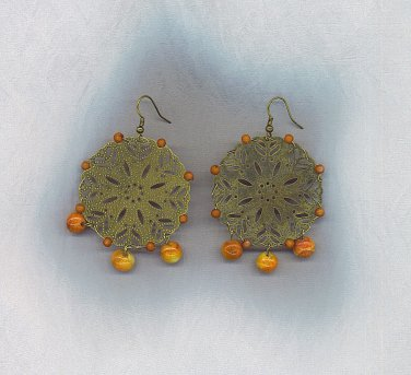 Bronze Earrings With Nautural Stone