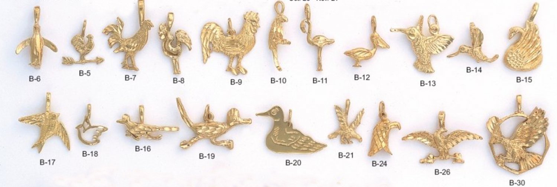 One Dozen Assorted Bird Charms Pendants Gold Or Rhodium