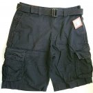 mossimo supply co. men's cargo relaxed black shorts with belt size 33