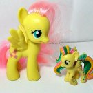 "My Little Pony G4 Fluttershy  3"" Brushable Pony, tiny Rainbow Power lot of 2"