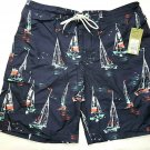 Goodfellow Men's Board Shorts Swim Trunks Lined Tie Waist Sail Boats 4 pockets