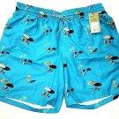 Goodfellow Men's Board Shorts Swim Trunks Lined Tie Waist palm trees 3 pockets