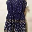 Divided H&M stretch cotton Floral Navy Blue White Mini sleeveless dress size 2