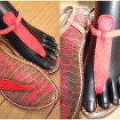 Sam Edelman Gigi Red Ankle Strap Leather Casual Flat Thong Sandals Size 7.5M