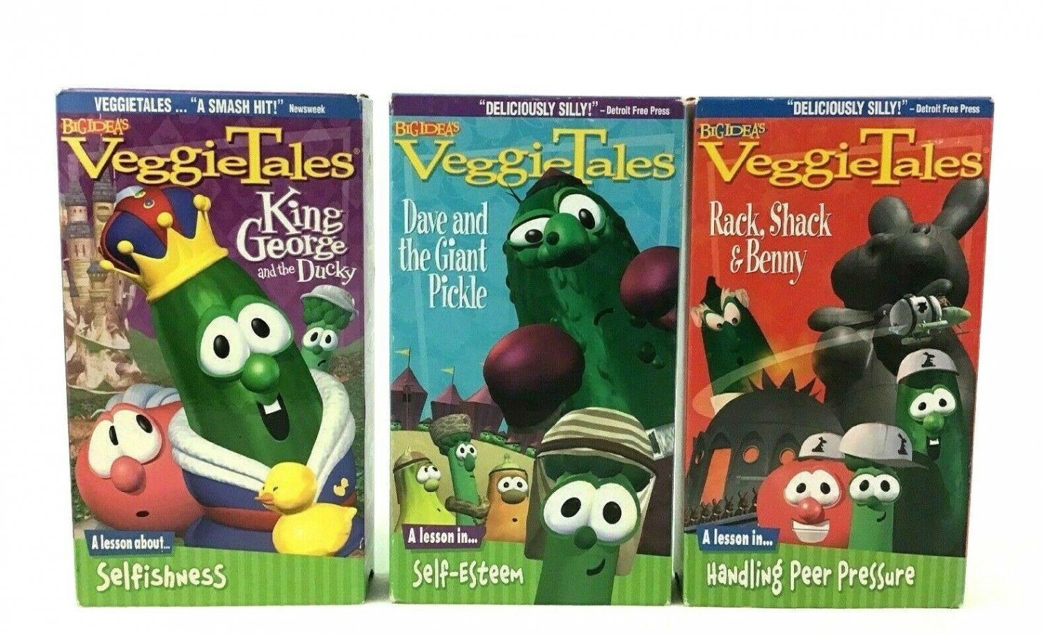 Veggie Tales Dave and The Giant Pickle King George and Ducky 3pc Lot VHS Tapes