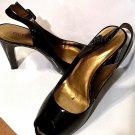 GUESS Women's Black Leather stiletto pumps Peep Toe High Heels Size 8.5 B