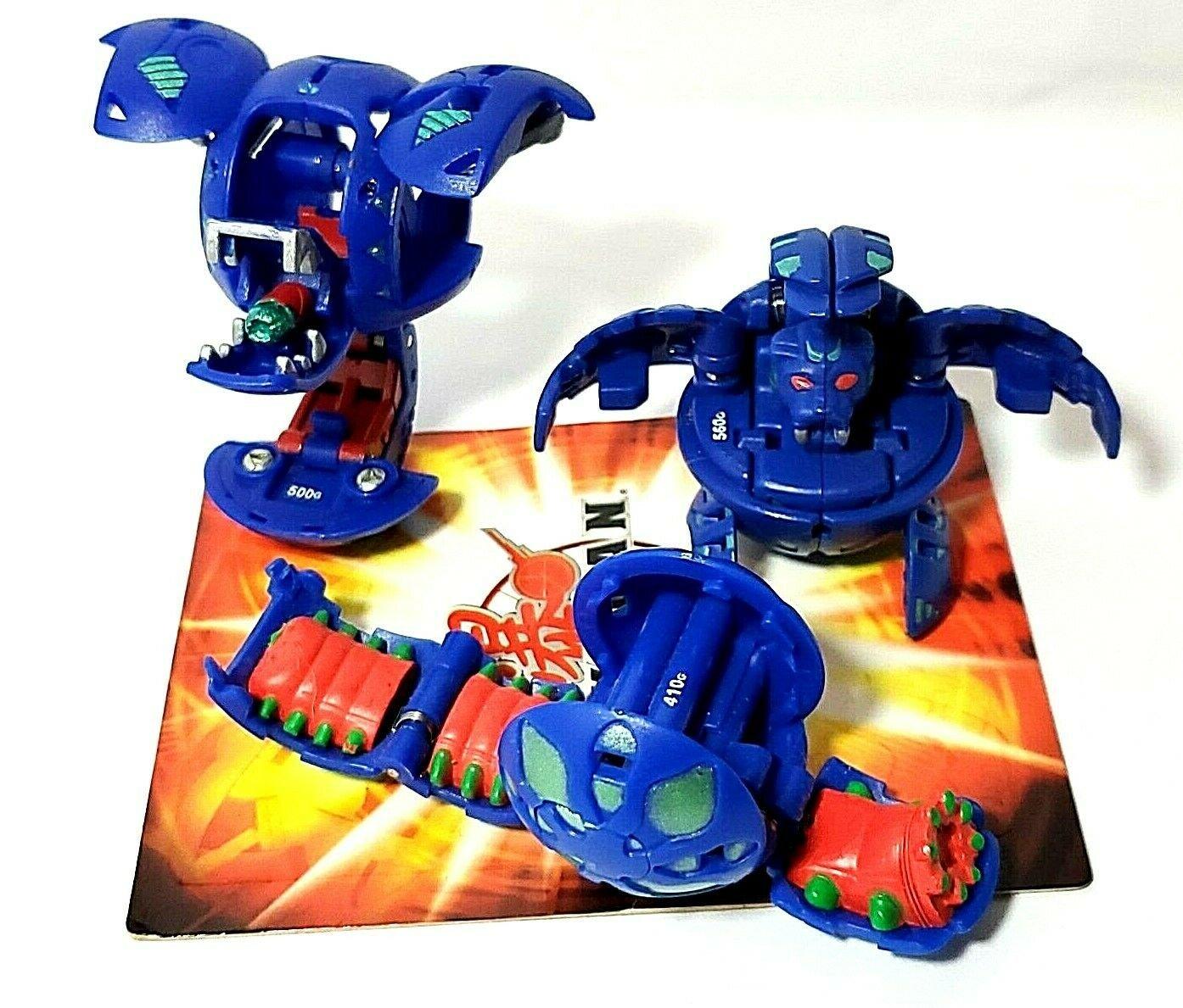 Bakugan Blue Aquos B2 lot of 3 blade tigerra 560g, leeform 500g, wormquake 4100g
