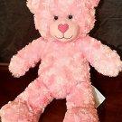 "Build A Bear Workshop Pink Fluffy Plush Bear Stuffed Animal 18"" Blue Eyes Soft"