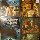 Lot Of 4 DVDs ADVENTURE Movies!  Planet of the Apes, Indiana Jones, Oregon lot