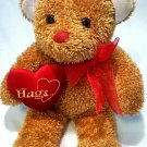 "Dan Dee brown sweetheart teddy bear hugs plush 12"" stuffed animal bow and heart"