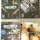 PS3 Lot 4 Games Call Of Duty Black Ops, Black Ops 2, Ghosts, Modern Warfare 2