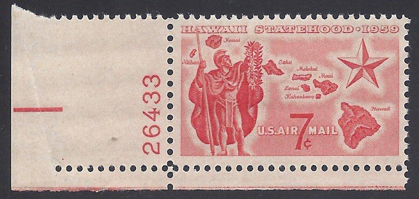 C55 7c US Airmail Hawaii Statehood Plate # Single1959 MintNH