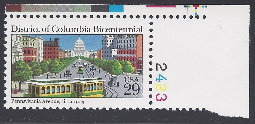 #2561 29c District of Columbia Bicentennial Plate # Single