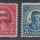 #647-648 2c/5c Hawaii Overprint Complete Set of 2 1926 MLH
