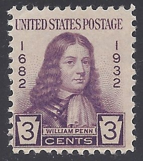724 3c William Penn Issue 1932 Mint NH