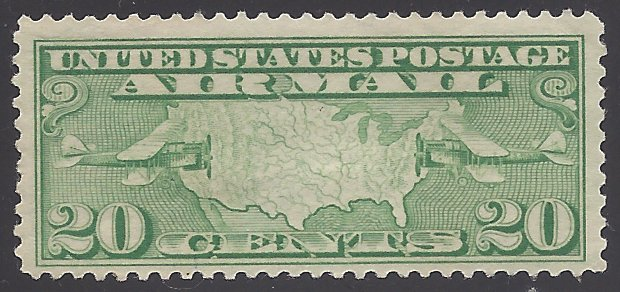 C9 20c US Air Mail U.S. Map and 2 Planes 1926 Mint LH