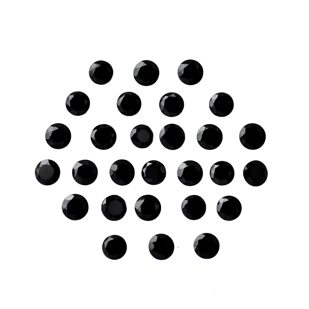 Certified Natural Black Spinal AAA Quality 1 mm Faceted Round Shape 100 pcs Lot Loose Gemstone