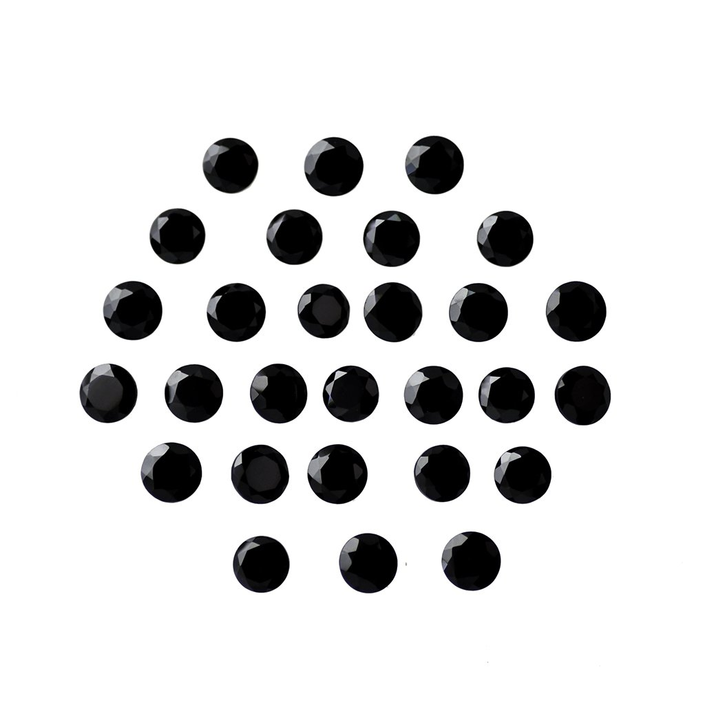 Certified Natural Black Spinal AAA Quality 8 mm Faceted Round Shape 25 pcs Lot Loose Gemstone