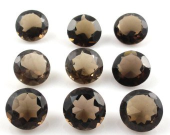 Certified Natural Smoky Quartz AAA Quality 8 mm Faceted Round Shape Pair Loose Gemstoe