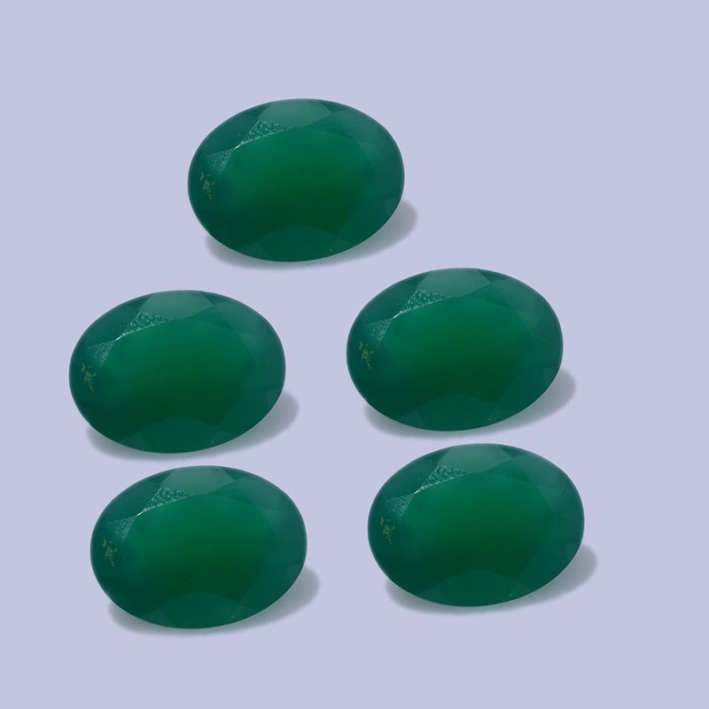 Certified Natural Green Onyx AAA Quality 12x10 mm Faceted Oval Shape 10 pc Lot Loose Gemstone